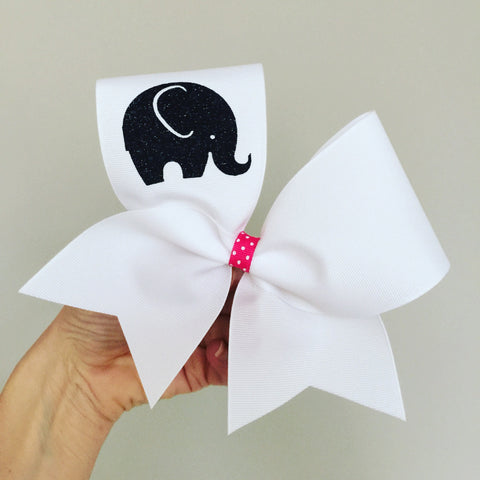 White Baby Elephant Cheer Bow with pink polka dot center