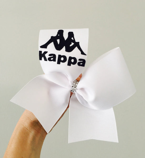 Kappa white and black Cheer bow