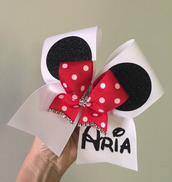 Personalized Mickey Mouse Ears Polka dot bow Cheer Bow