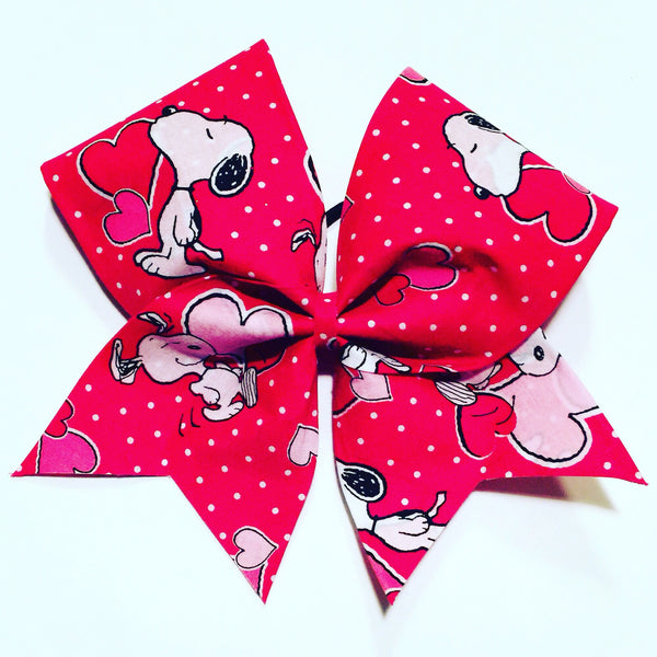 Snoopy Valentine's Day Cheer Bow Fabric hair bow