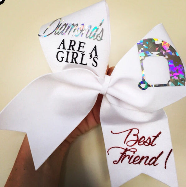 Diamonds Are A Girls Best Friend Softball Spandex Bow Cheer Bow
