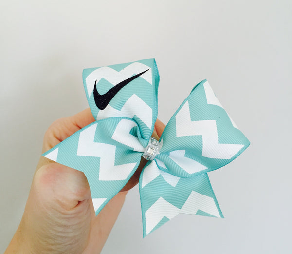 Mini Mint Green Chevron Swoosh Baby Bow OR KEYCHAIN YOU CHOOSE!