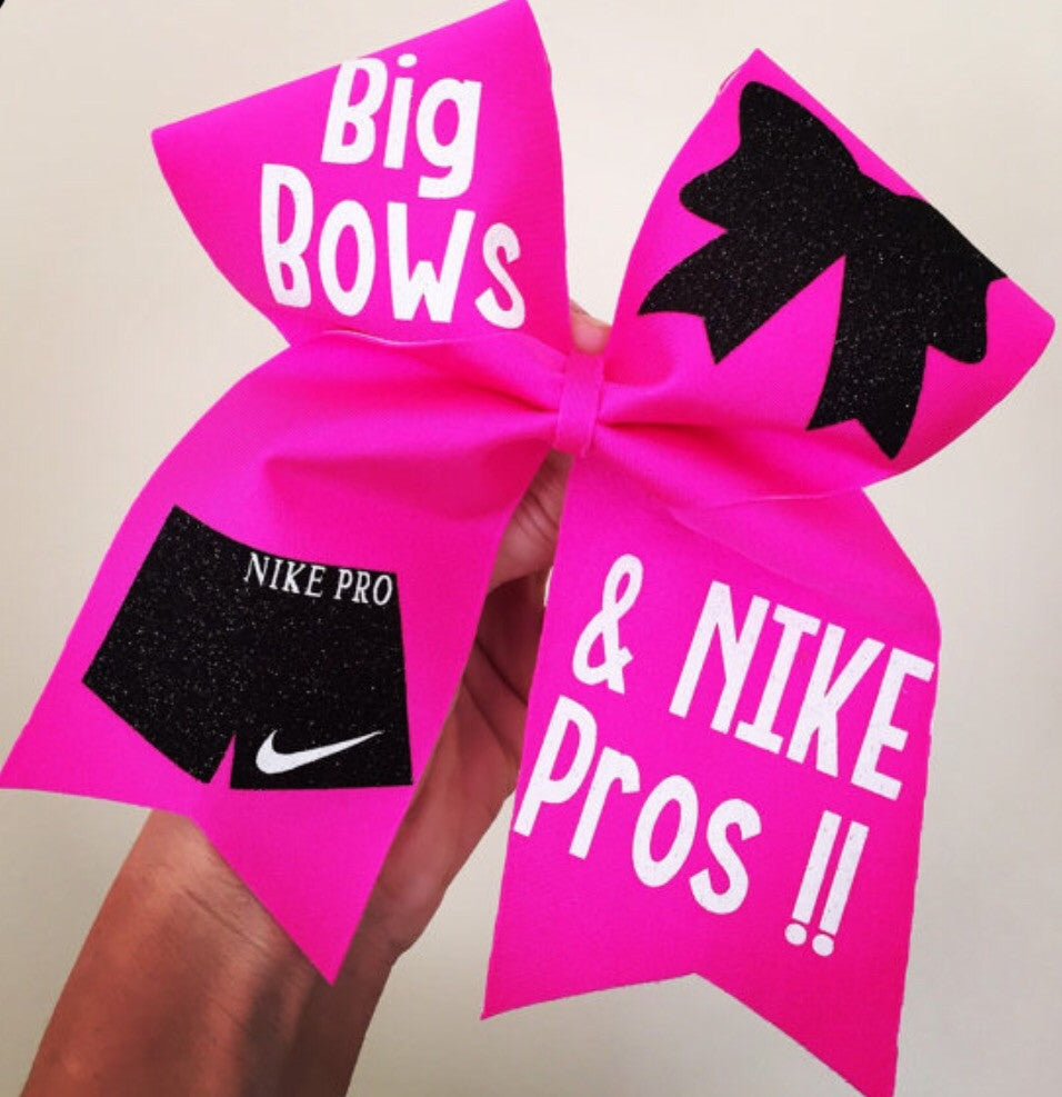 f0b3c91affcf Big Bows And Nike Pros Hot Pink Spandex Cheer Bow – Talk To The Bow