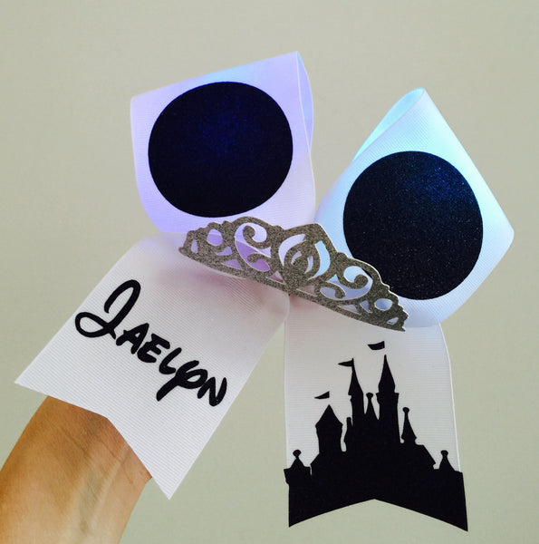 Personalized LIGHT UP RAINBOW COLOR CHANGING Mickey Ears Disney Castle Glitter Tiara Cheer bow