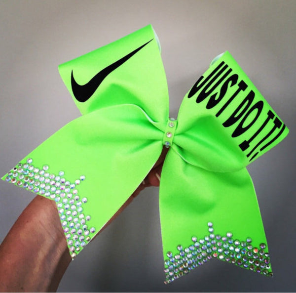 Lime Green Just Do It Rhinestone Bling Cheer Bow Glitter Swoosh