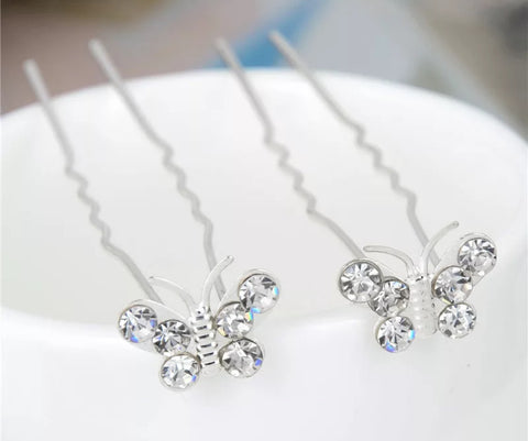 Rhinestone butterfly hair pin