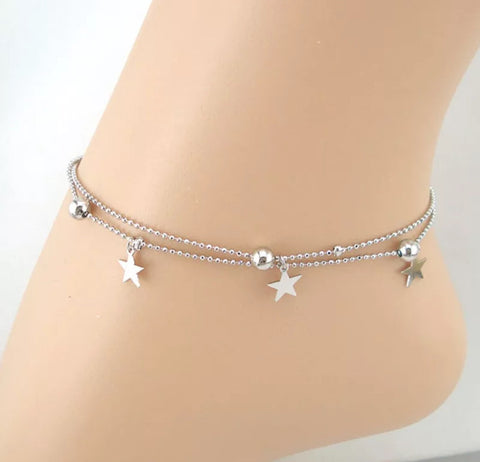 Double chain star and bell anklet