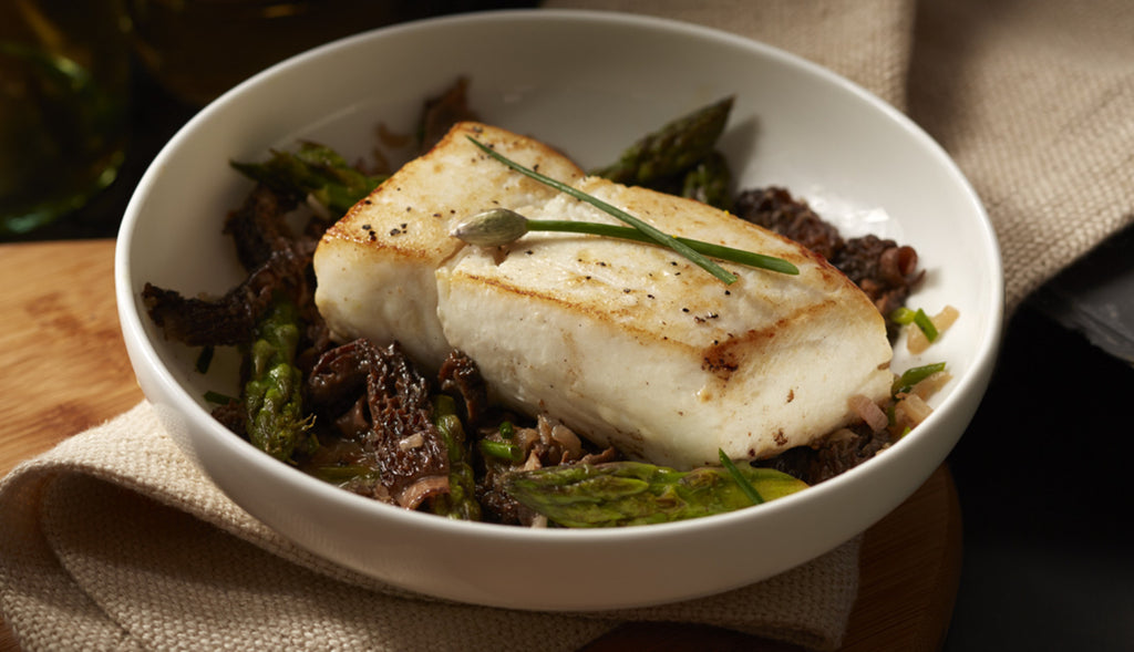 Halibut with Morels and Asparagus