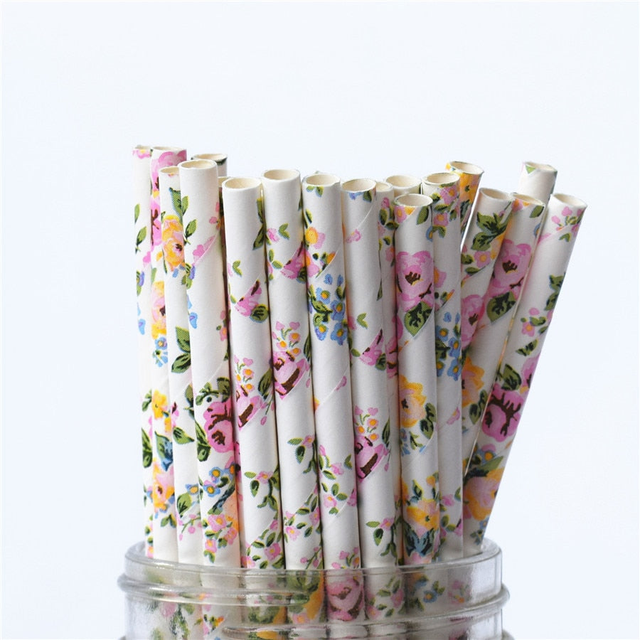 25pcs Romantic Biodegradable Paper Straws