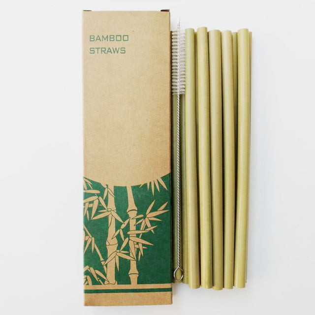 Green Reusable Bamboo Straws