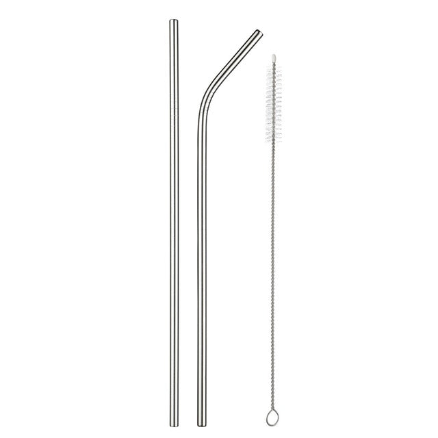 Eco-Friendly Reusable Straw Stainless Steel Straws Drinking High Quality Metal Straw with Cleaner Brush & Bag Wholesale Hot Sale