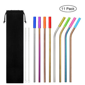 8pcs Reusable Stainless Steel Drinking Straws Set with Silicone Tips Brush Bag Replacement Metal Straws for Home Party Barware