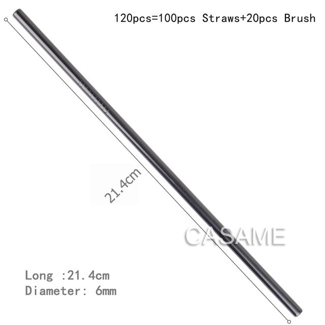 100pcs Stainless Steel  Drinking Straw Wholesale Reusable Straw Gold Metal Straws Food Grade Juicy Party Straws Brush Set Bar