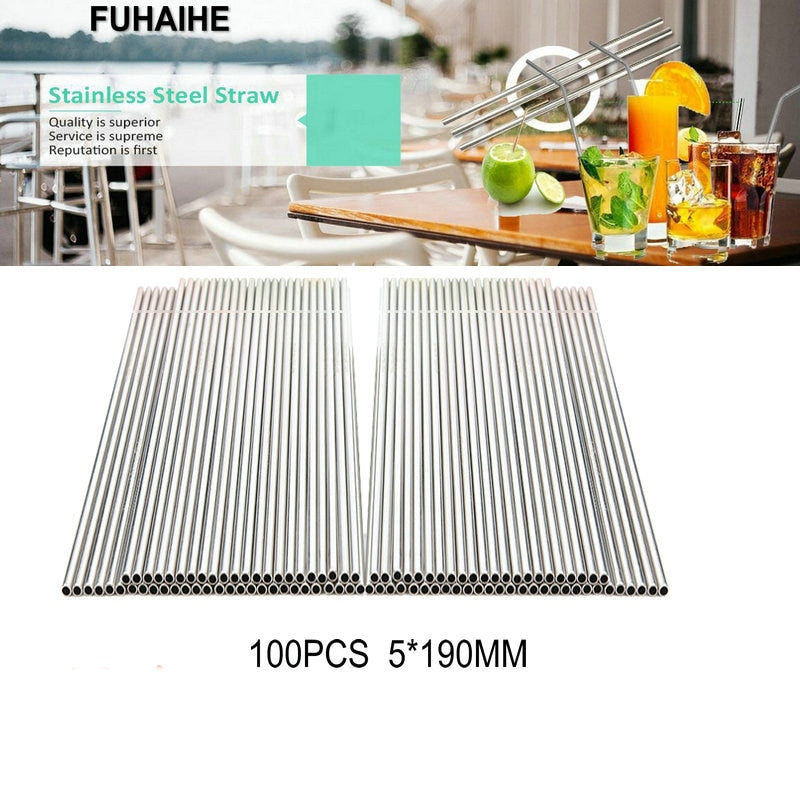 FUHAIHE Reusable 100PCS/Lot 5*190mm Metal Straw Stainless Steel Straw for Child and Adult Factory Wholesale