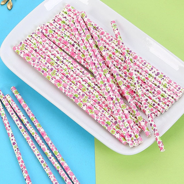 25 or 12pcs Colorful Drinking Paper Straws