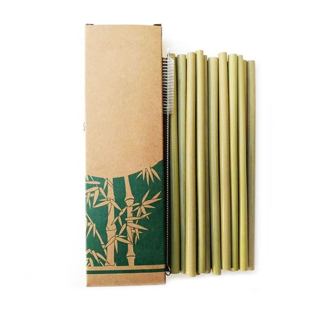 Useful 10pcs/set Bamboo Drinking Straws Reusable Eco-Friendly Party Kitchen + Clean Brush for Drop Shipping wholesale