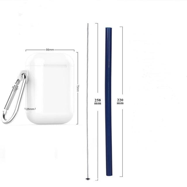 Reusable Silicone Collapsible Straws Set Folding Straw With Case Cleaning Brush Drinks Accessories for Outdoor Travel Office