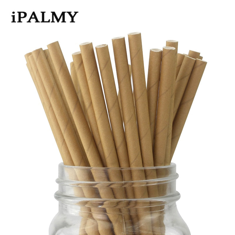 ipalmay 200Pieces Brown Kraft Paper Straws Biodegradable Drinking Straw Decorations for Birthday Wedding Supplies Party Favors