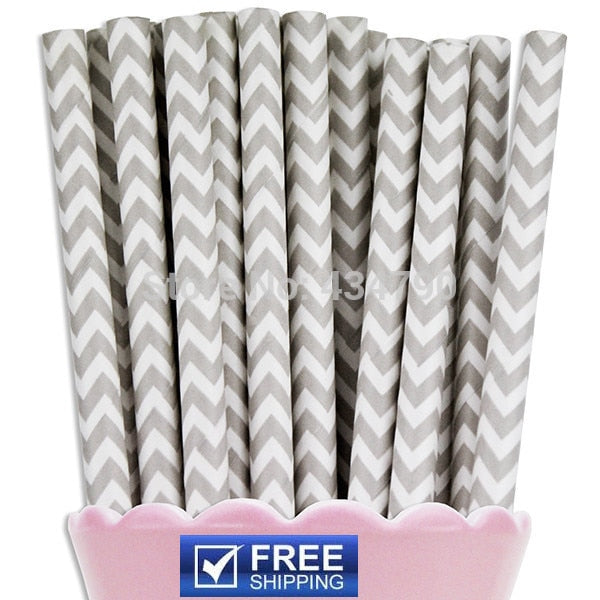 200 pcs Grey Chevron Paper Drinking Straws