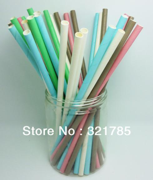 50 PCS/2 Pack Monochrome Single Color Paper Straws Biodegradable For Drinking Wedding Party