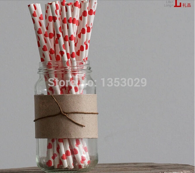 Free Shipping! 50pcs/lot Red Heart Valentine'S Day Paper Straws, Wedding Paper Drinking Straws, Biodegradable Paper Straws
