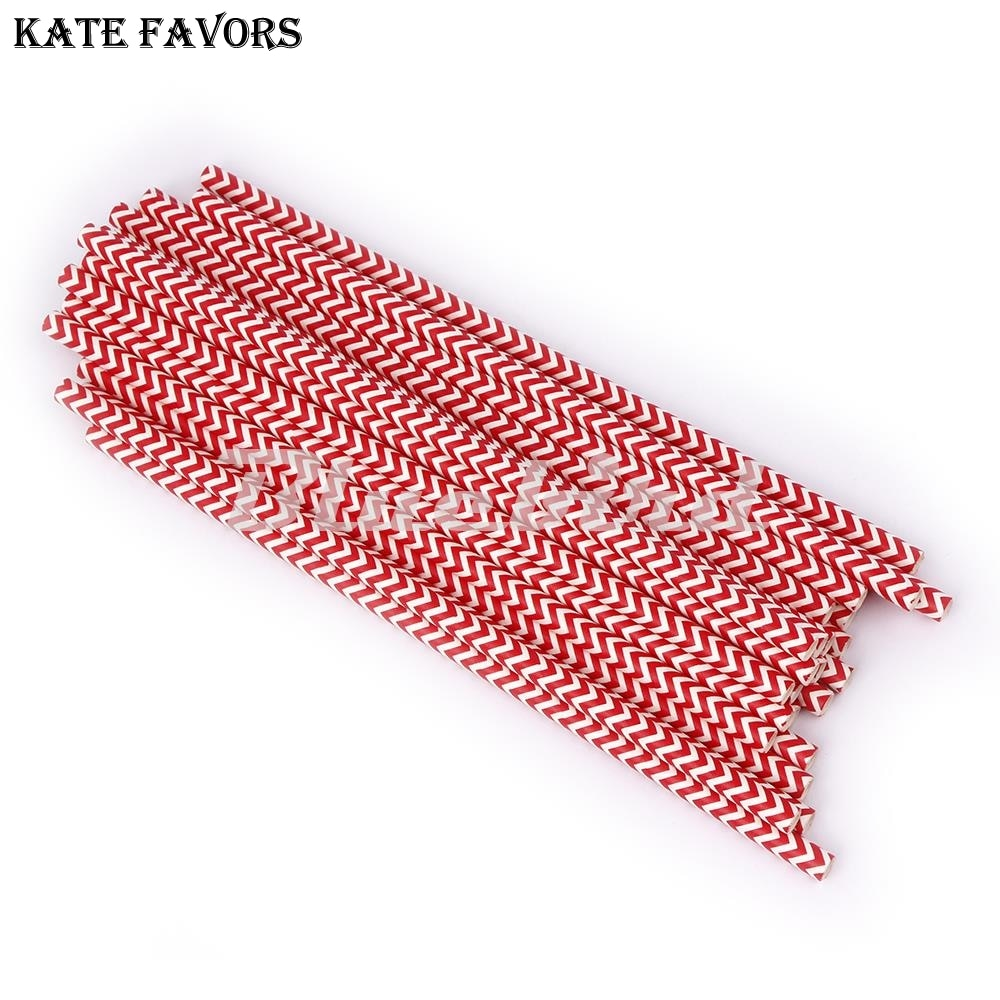 25Pcs Red Wave Drinking Paper Straws