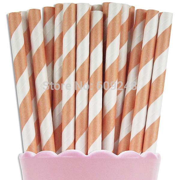 Peach Striped Biodegradable Paper Straws