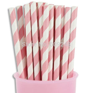 Striped Pink Biodegradable Decorative Paper Straws