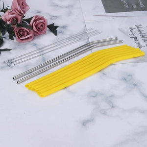 Silicone and Stainless Steel Straw Drinking Straw Set