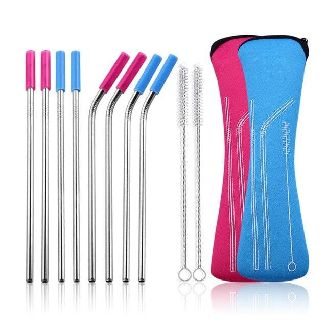 Straight and Bent Stainless Steel Straws with Silicone Tip