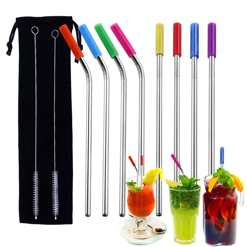 8pcs Stainless Steel Straws Reusable Replacement Metal Straws with Silicone Tips Cleaning Brush TB Sale