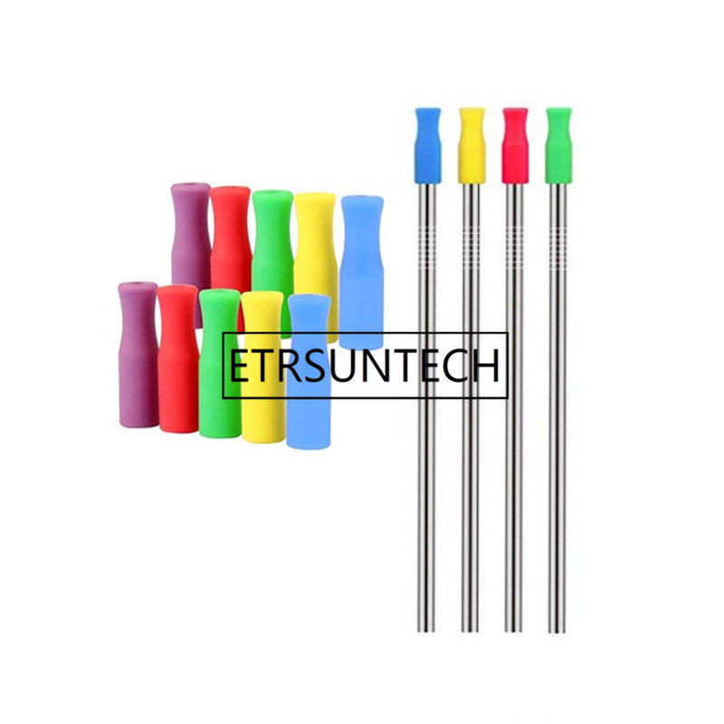 2000pcs/lot 8 Colors Stock Silicone Tips for Stainless Steel Straws Tooth Collision Prevention Straws Cover Silicone Tubes