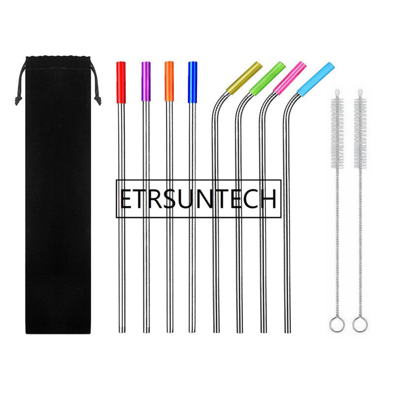 Long Stainless Steel Metal Drinking Straws For 20 Oz Cups Tumbler Reusable Replacement With Silicone Tips Cleaning brushes bag