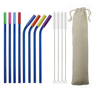 JANKNG 8Pcs Reusable Straws 304 Stainless Steel Straw Bent Metal Straws Drinking Straw Silicone Tips for Tumblers Dropshipping