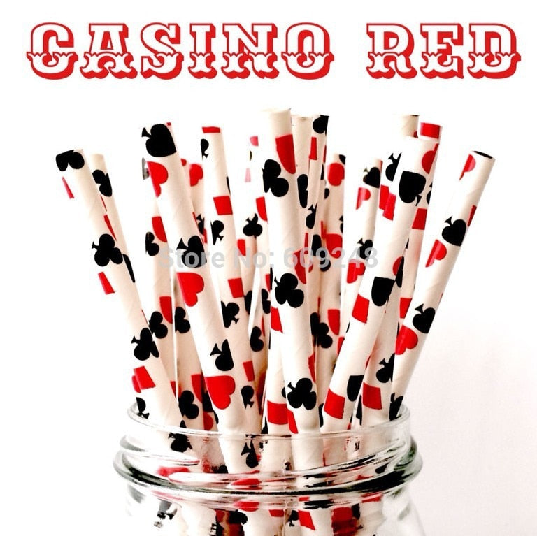 Casino Red Playing Cards Biodegradable Paper Straws