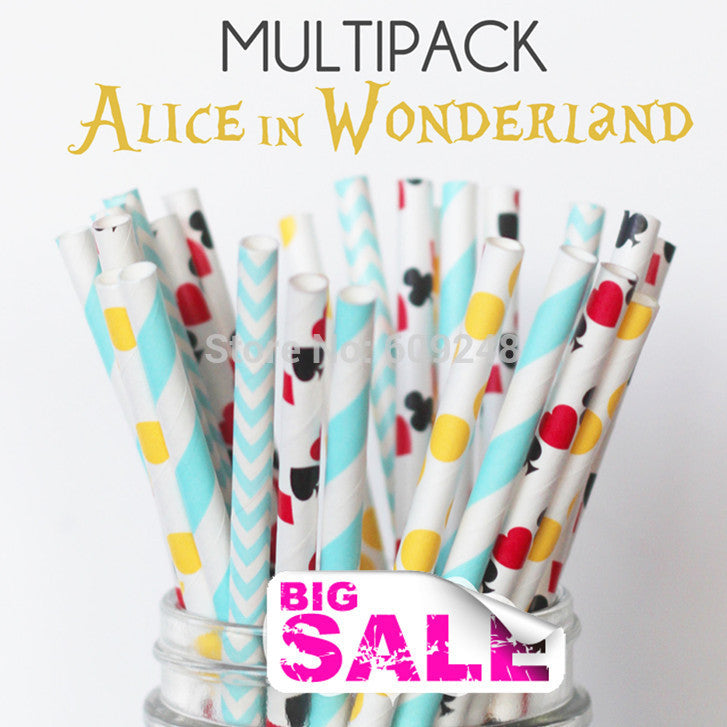 Mixed Colors - Alice in Wonderland - Cowhide Paper Straws