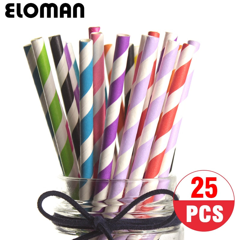 25PCS/pack striped paper straws for kids birthday party colored paper drinking straw festive party supplies decoration