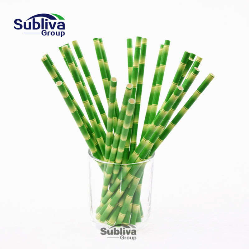 New Bamboo Paper Straws for Kids Birthday Wedding Decoration Party Straws Creative Paper Drinking Straws Green 25pcs/lot