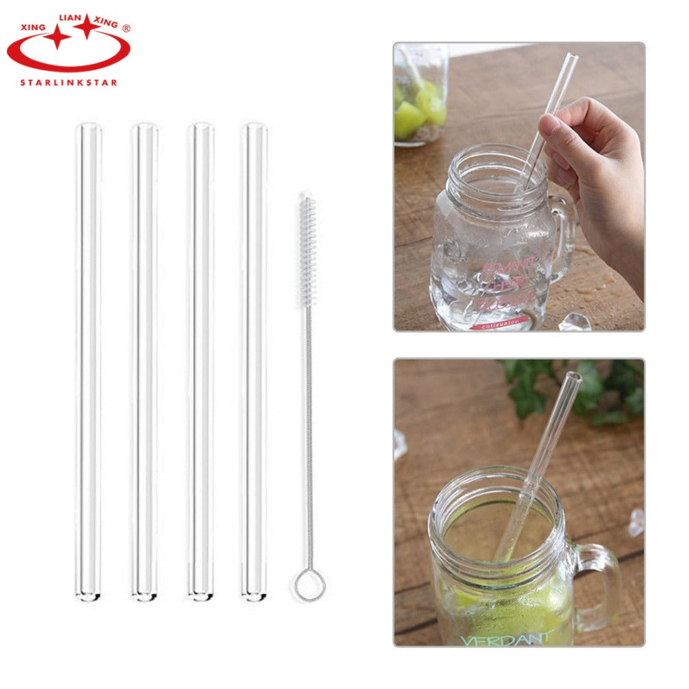 2 PC Reusable and Temperature Resistant Environmental Glass Water Drinking Straws with Brush Wedding Birthday Party