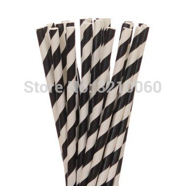 New 25pcs/lot Red Black Paper Straws For Kis Happy Birthday Wedding Christmas Decorative Party Supplies Creative Drinking Straws