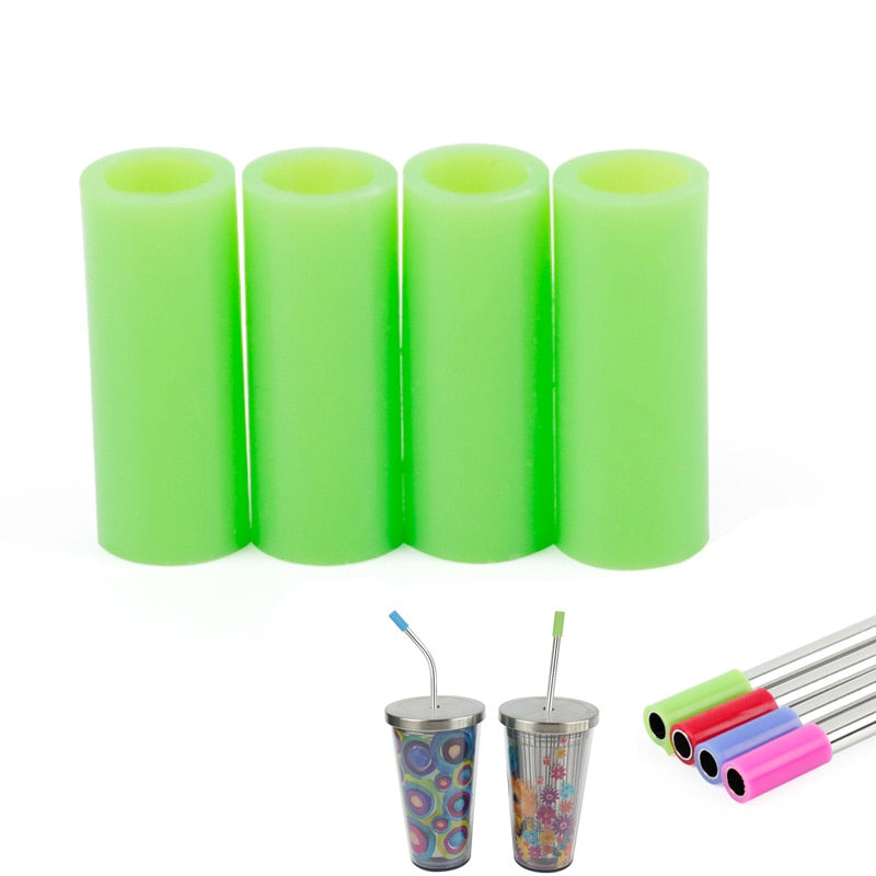 "Delidge 4pcs Universal Reusable Silicone Tips of Straws for 8.5"" /10.5""Stainless Steel Straws Protection Part"