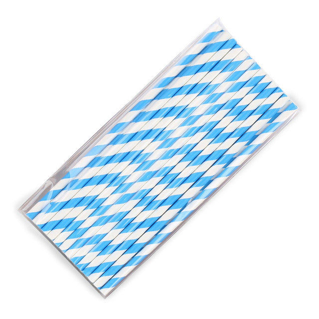 5Pcs / 25Pcs Disposable Straws Paper Straws Blue Red For Baby Shower Wedding Birthday Halloween Christmas Drinking Straws Party