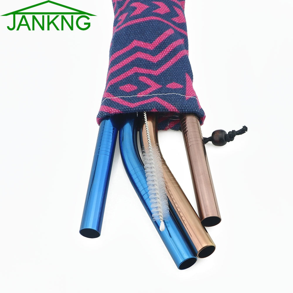 JANKNG 2 Pcs Rainbow Blue Bent Metal Straw Diameter 12mm Stainless Steel Bubble Milk Tea Straws Reusable Glass Drinking Straw