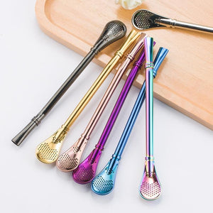 Stainless Steel Straws Metal Drinking Straws Reusable Filtered Stirring Spoon Yerba Mate Tea Bombilla Tea Tools Bar Accessories