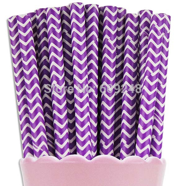 Deep Purple Chevron Biodegradable Paper Straws