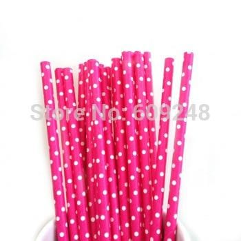 White Swiss Dot Deep Pink Biodegradable Paper Straws