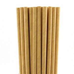 200 pcs Solid Plain Brown Kraft Paper Straws