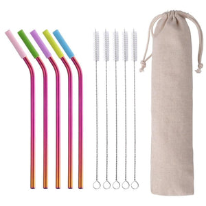 Reusable Metal Stainless Steel Drinking Straw with Silicone Tips
