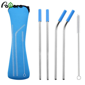 6Pcs/set Reusable Stainless Steel Straws Straight Bent Drinking Straws with Silicone Tips for Hot Cold Beverage Drink Bar Tools