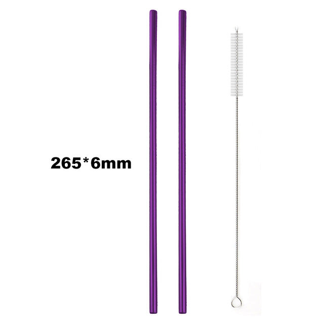 JANKNG 2 Pcs Colorful Purple Metal Straw 304 Stainless Steel 12mm Straws Reusable Bent Glass Mug Drinking Straw Costomize Logo